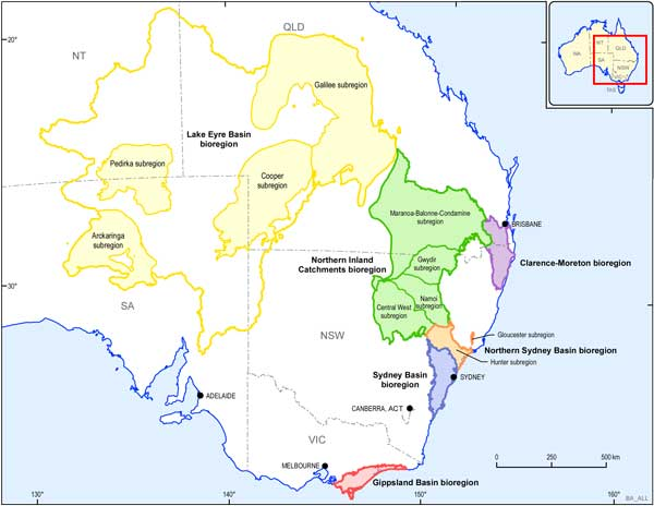 Map of Eastern Australia showing the locations of the six bioregions